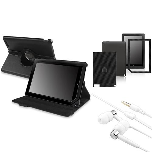 Insten Black 360 Rotating Leather Case+Sticker+In ear White Headset For Nook HD Plus (Supports Auto Sleep/Wake)