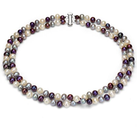 """Image of Dark Multi-Color Freshwater Pearl Necklace for Women, Sterling Silver 2 Row 17"""" & 18"""" 9mm x 10mm"""