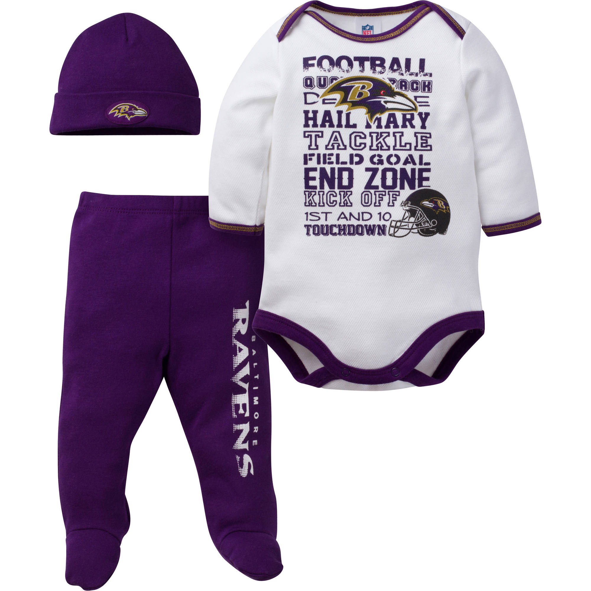 NFL Baltimore Ravens Baby Boys Bodysuit, Pant and Cap Outfit Set, 3-Piece