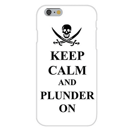 Apple iPhone 6 Custom Case White Plastic Snap On - Keep Calm and Plunder On Pirate Skull & Swords - Pirate Skull And Swords