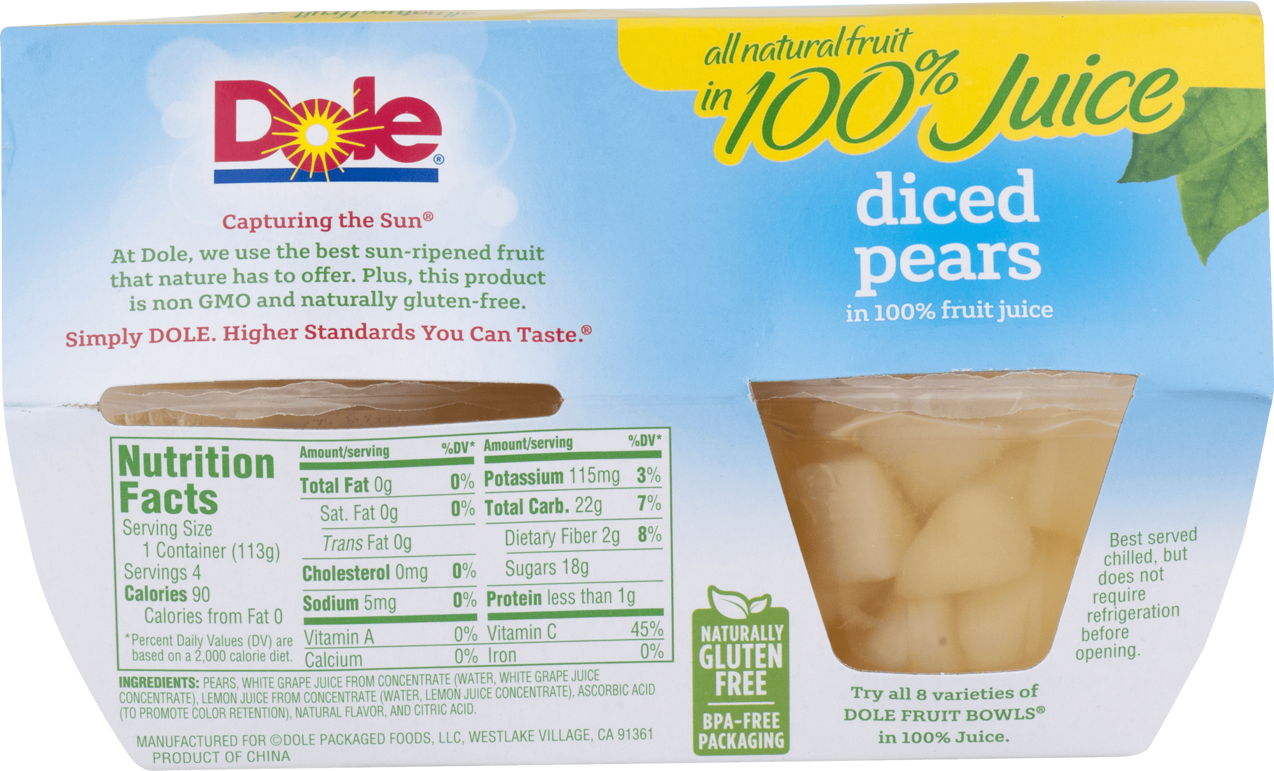 Dole Fruit Bowls Diced Pears in 100