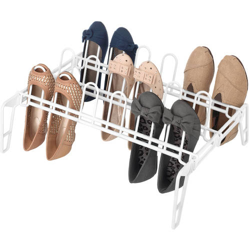 "Whitmor 6780-5440-WHT 15.75"" x 22"" White 9 Pair Shoe Rack"