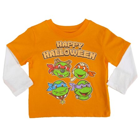 Teenage Mutant Ninja Turtles Infant Toddler Boy Orange Happy Halloween Shirt](Happy Halloween Nina)