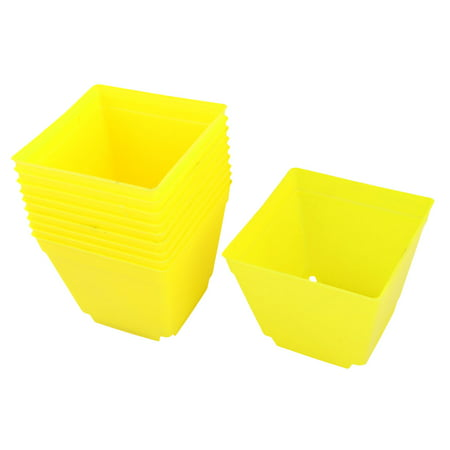 Plastic Square Flower Plant Pot Saucer Holder Yellow for Balcony 4 x 4 Inch - Yellow Port