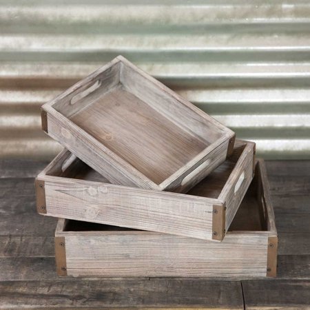Wedding Decor Serving Trays Rectangle Wood With Metal Corners 13 17 In Set Of 3