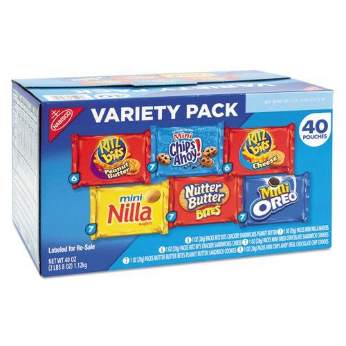 Nabisco Mini Snack Packs, 1 oz, Variety Pack, 40 per Carton -NFG827558