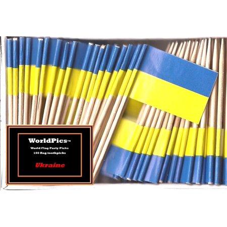 One Box Ukraine Toothpick Flags, 100 Small Ukrainian Cupcake Flag Toothpicks or Cocktail Picks](Pirate Flag Toothpicks)