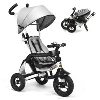 Gymax 6-In-1 Kids Baby Pushing Tricycle Detachable Bike w/ Canopy Bag