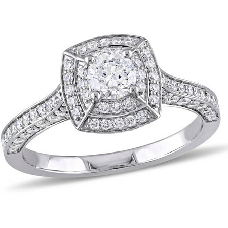 Miabella 1 Carat T.W. Diamond 14kt White Gold Double Halo Engagement Ring