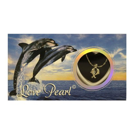 Make A Wish Necklace - Dolphin Love Wish Pearl Kit Cultured Pearl Necklace Set with Stainless Steel Chain 16