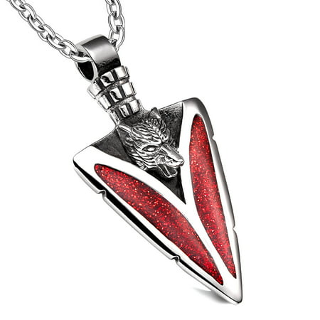 Arrowhead Howling Wolf Courage Powers Protection Amulet Sparkling Royal Red Pendant 18 Inch Necklace