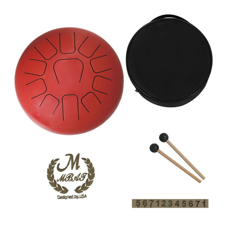 12 Inch Steel Tongue Drum 11-Tone Hand Pan Drum Stainless Steel Percussion Instrument with Drum Mallets Carry Bags Note Sticks