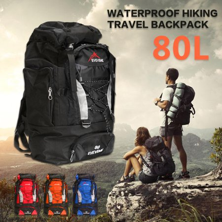 Polyester 80L Large Waterproof Rucksack Backpack Travel Bag Luggage for Camping Hiking Outdoor (Best Travel Luggage Backpack)