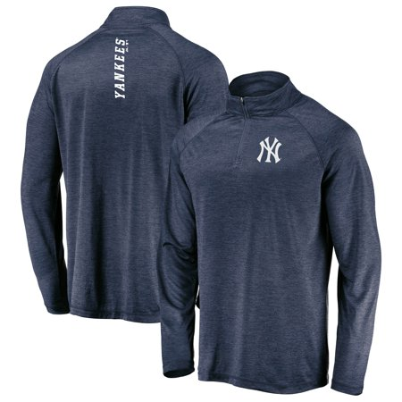 New York Yankees Majestic Contenders Welcome Quarter-Zip Mock Neck Raglan Pullover Jacket - Heathered Navy