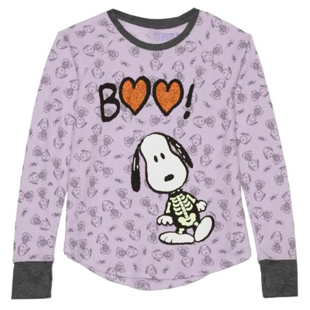 Peanuts Girls Purple Thermal Snoopy Halloween Shirt Boo Dog Skeleton Top - Peanuts Halloween Settings