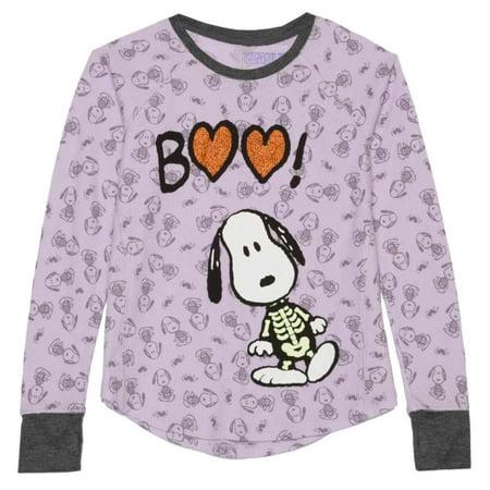 Peanuts Girls Purple Thermal Snoopy Halloween Shirt Boo Dog Skeleton - Snoopy Halloween Cartoon
