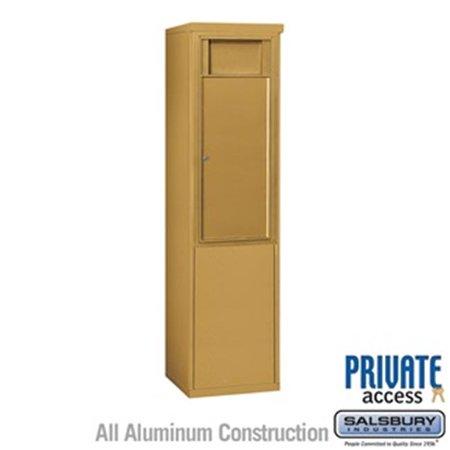 Salsbury 3910S-1BGF 65 - 0.75 in. 10 Door High Unit Single Column 1 Receptacle Bin Free Standing 4C Horizontal Receptacle Bin, Gold - Front Access
