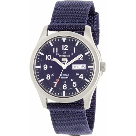 Seiko Mens Analog (Men's 5 Automatic SNZG11K Navy Nylon Self Wind Fashion Watch )