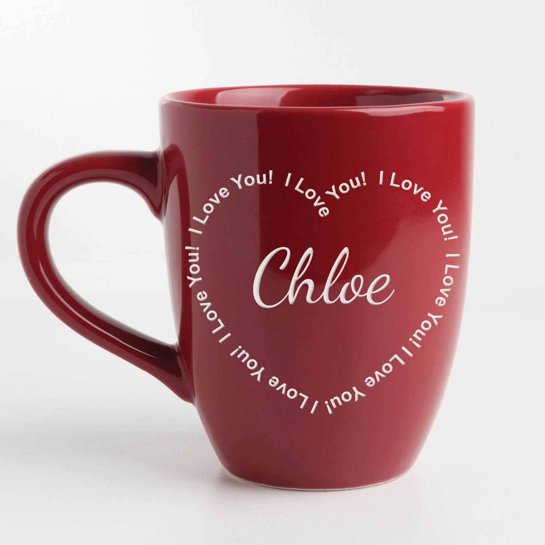 Personalized I Love You Red Bistro 14.5 Coffee Mug
