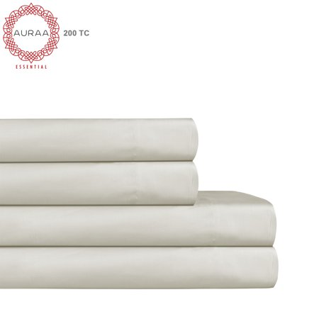 200 Sheet Special Media - Auraa Essential 200 TC Aaah Cotton 4 Pc Queen Sheet Set