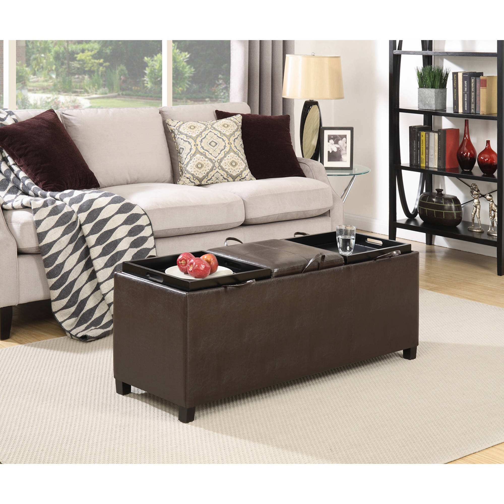 faux leather storage bench with 3 tray tops espresso