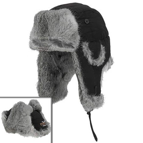 Yukon Yukon Taslan Alaskan Hat - Black With Gray Fur - Medium
