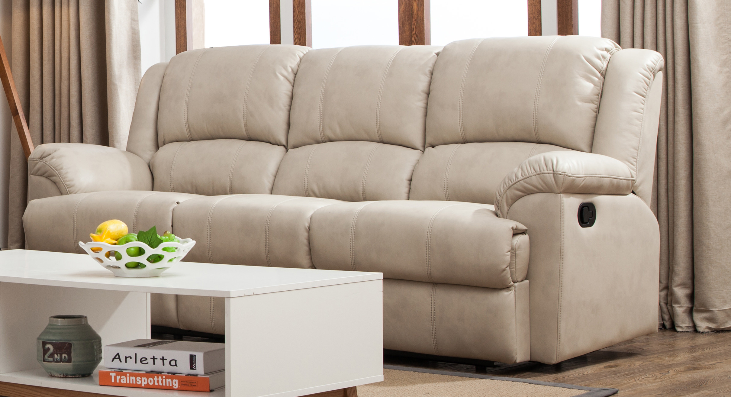 Taupe Leather Air 3 Seats Double Recliner Sofa