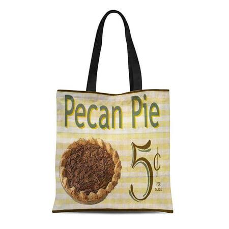 KDAGR Canvas Tote Bag Food Pecan Pie Vintage Country Reusable Handbag Shoulder Grocery Shopping