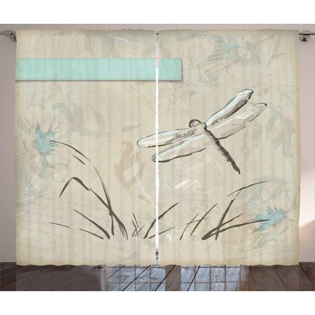 Dragonfly Curtains 2 Panels Set, Romantic Vintage Sketch in Pastel Grass Birthday Grunge Grass Botany Artwork, Window Drapes for Living Room Bedroom, 108W X 63L Inches, Seafoam Tan, by Ambesonne
