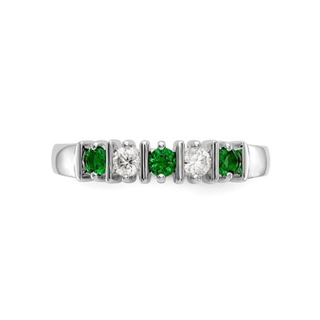3/10 Carat (ctw) Natural Emerald Band Ring in 14K White Gold with 1/5 Carat (ctw) Diamonds - image 3 de 5