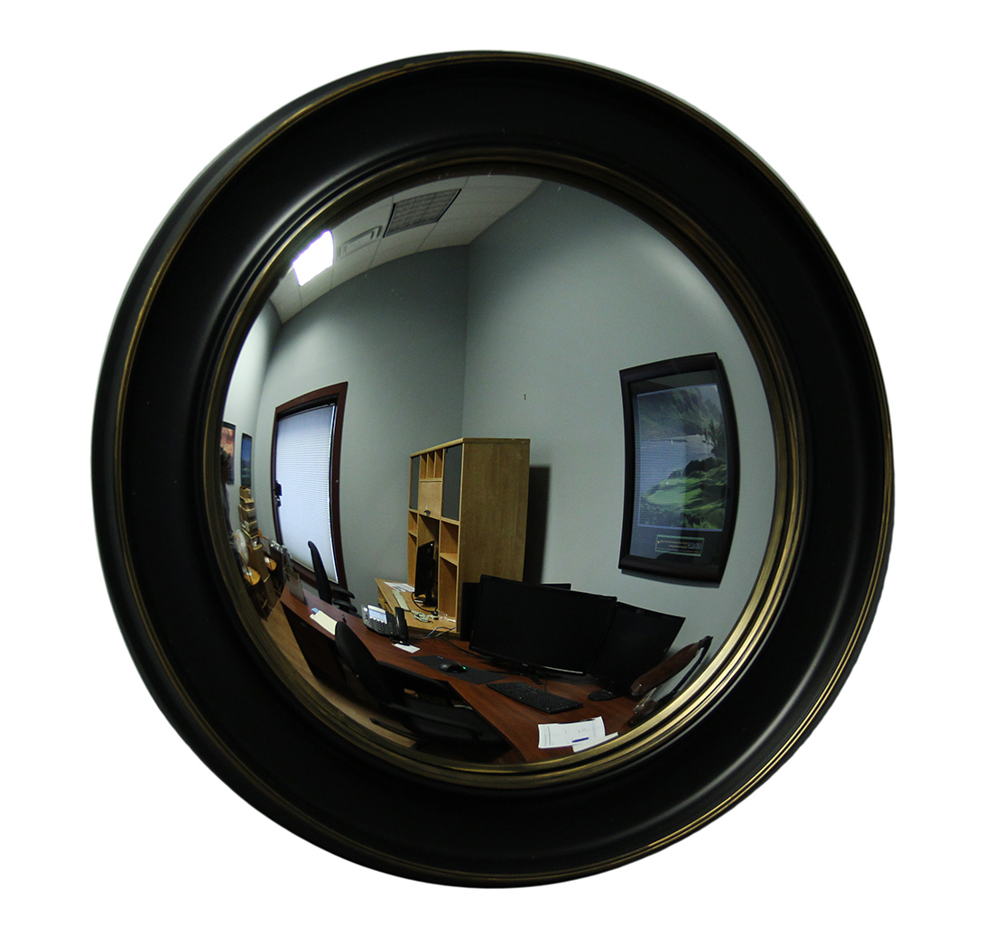 Black Gold Distressed Finish Round Framed Fish Eye Convex
