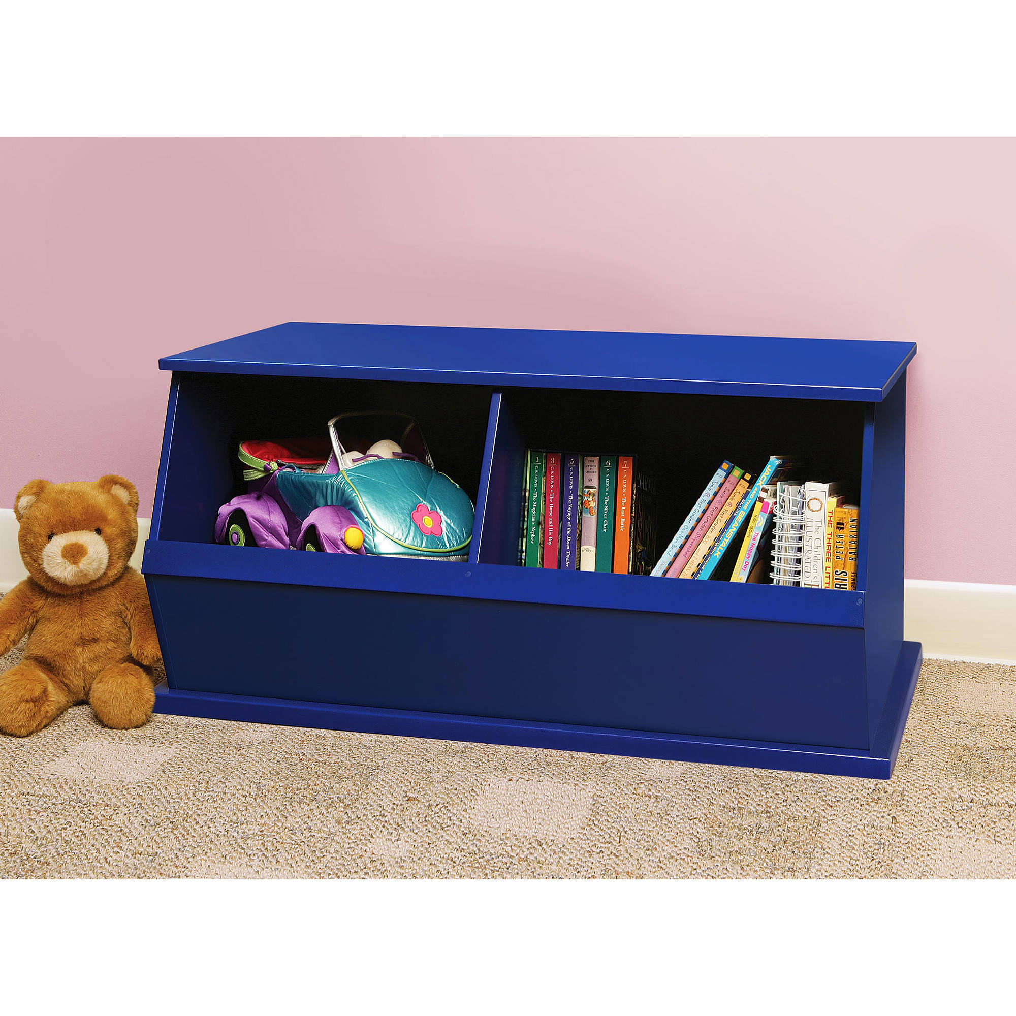 Badger Basket - Stackable Two-Bin Storage Cubby, Multiple Colors