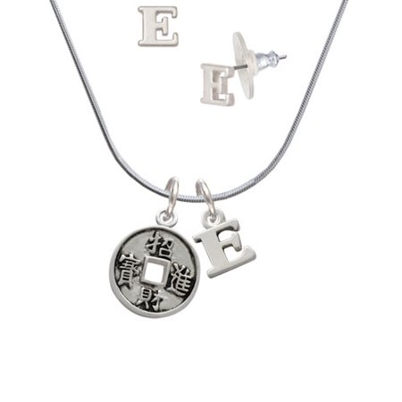 (Chinese Coin - E Initial Charm Necklace and Stud Earrings Jewelry Set)