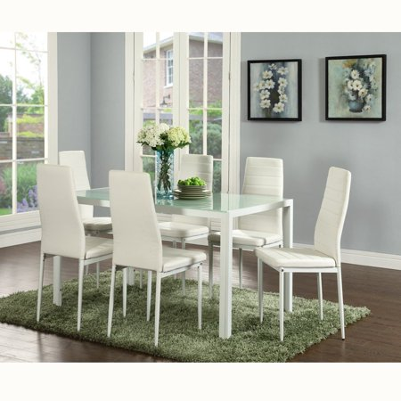 Ids Home 7 Piece Breakfast Furniture Gl Dining Table Set With 6 Seat Chairs