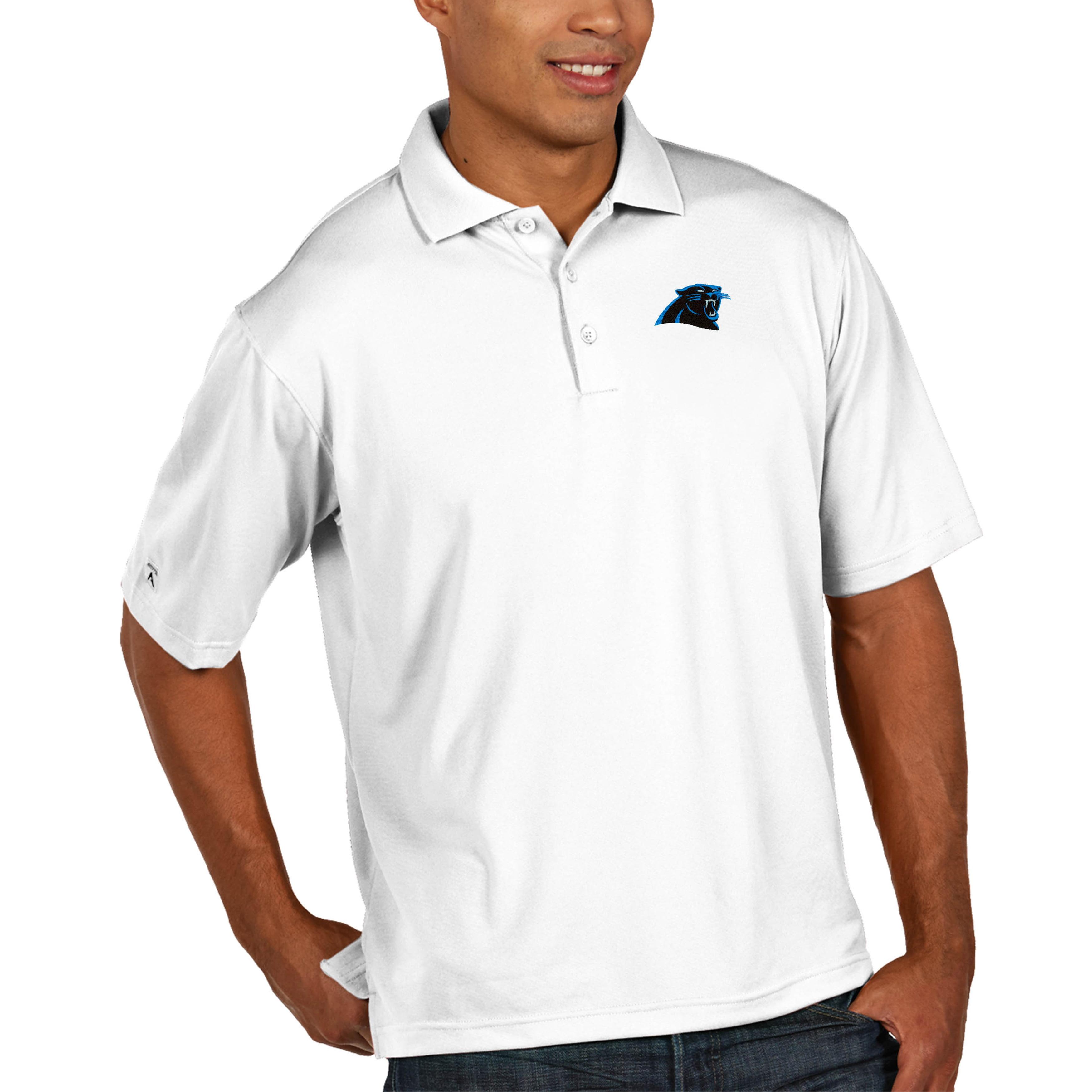 Carolina Panthers Antigua Pique Xtra Lite Big & Tall Polo - White