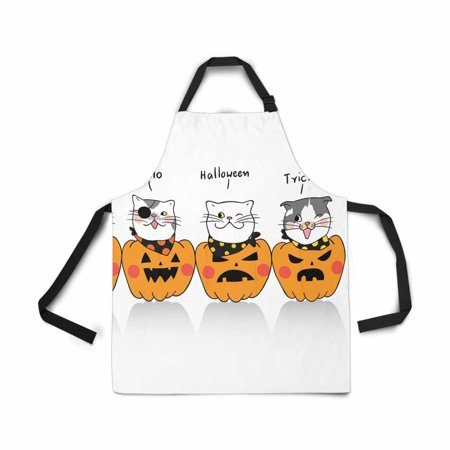 ASHLEIGH Cute Cat Halloween Day Cartoon Apron for Women Men Girls Chef with Pockets Adjustable Bib Kitchen Cook Apron for Cooking Baking Gardening Pet Grooming Cleaning](Cute Baking Ideas For Halloween)