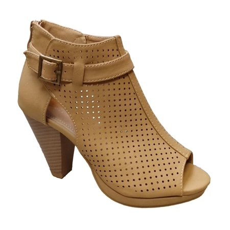 Tan Peep Toe (Top Moda Women's Hermer 5 Tan Perforated Peep Toe Stacked Heel Size: 7.5, Width: Medium )