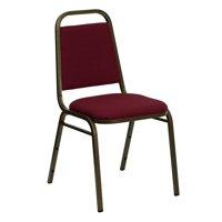 Flash Furniture HERCULES Series Trapezoidal Back Stacking Banquet Chair in Burgundy Fabric - Gold Vein Frame
