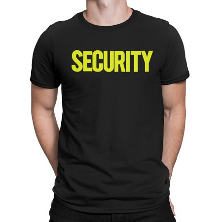 NYC FACTORY Security T-Shirt Front Back Print Mens Tee Staff Event Uniform Bouncer Screen Printed (Black-Neon, 2XL)