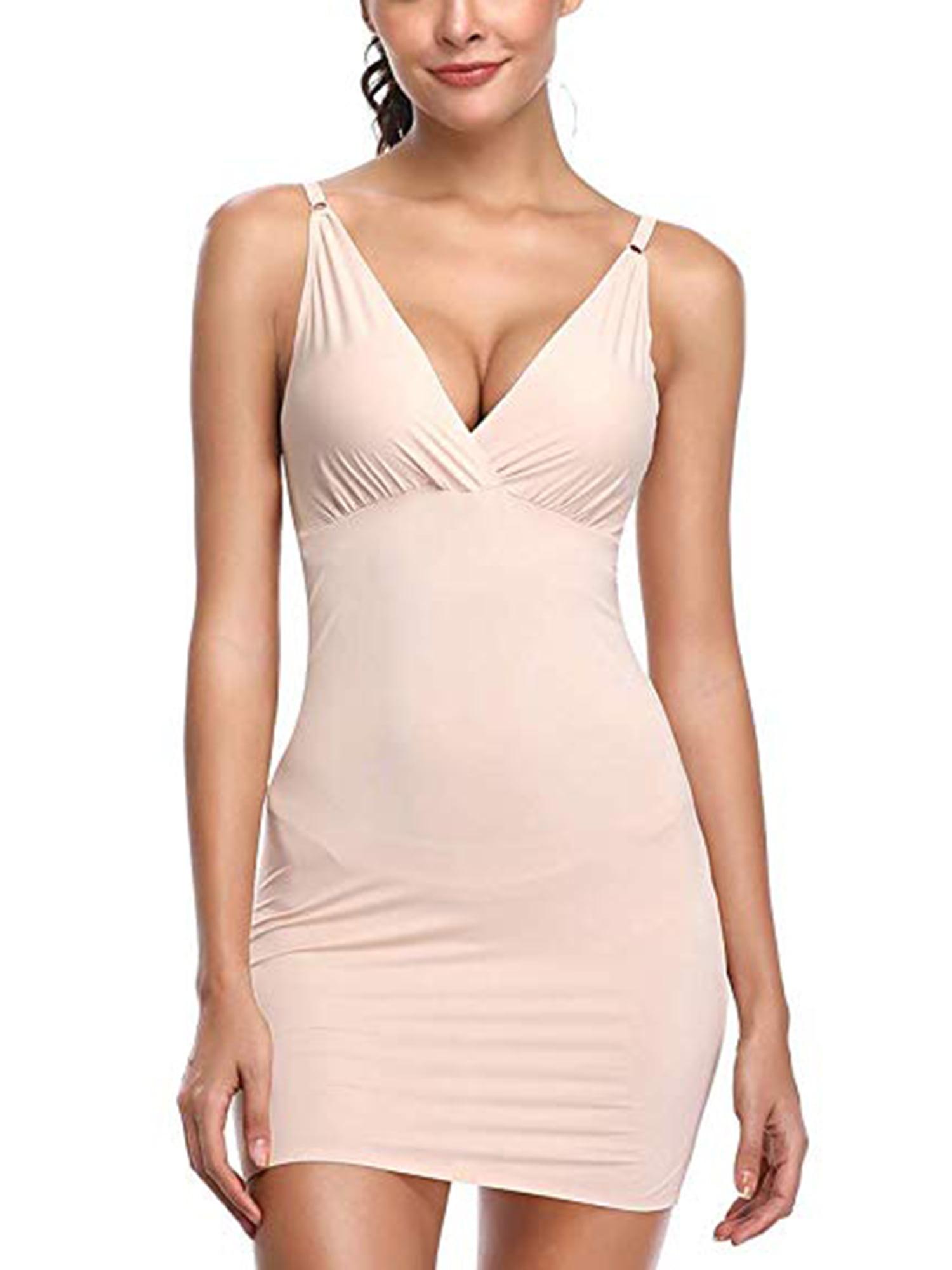 Full Slips for Women Under Dresses Long Body Shaping Cami Slip Seamless Slimming Deep V Neck Slip