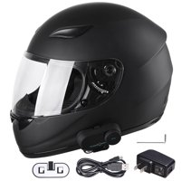 Bluetooth Motorcycle Full Face Helmet with Wireless Headset Intercom MP3 FM Radio DOT Size/Color