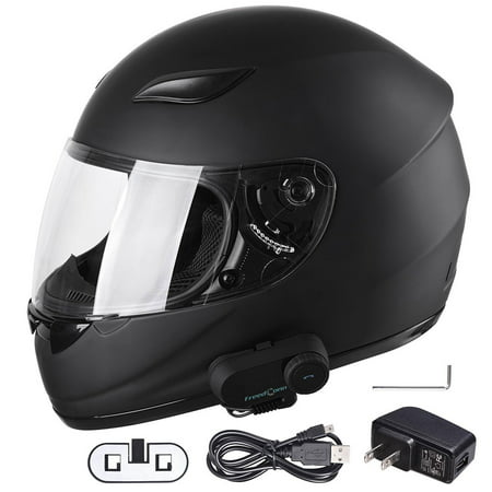 Bluetooth Motorcycle Full Face Helmet with Wireless Headset Intercom MP3 FM Radio DOT