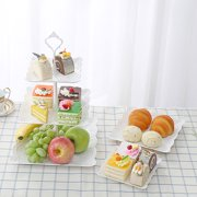 2 Pack Three Tiers Cake Display Stand and Fruit Plate Party Serving Platter Stand for Birthday Weeding