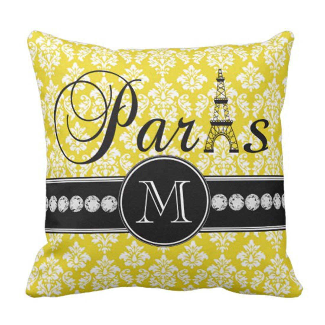 BPBOP Black Monogram Chic Yellow Damask Paris Vintage Pillowcase Cushion Cover 20x20 inches