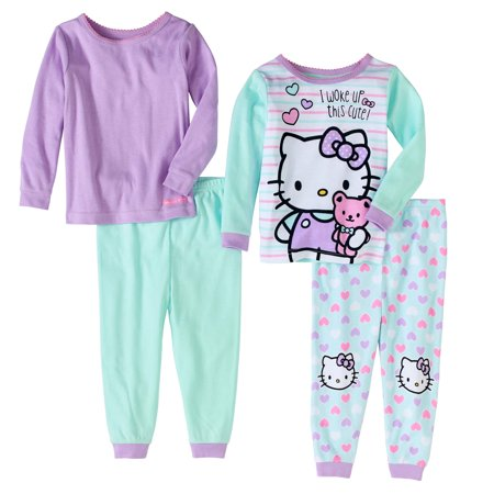 Hello Kitty Newborn Baby Girls' Cotton Tight Fit Pajamas, 4-Piece Set