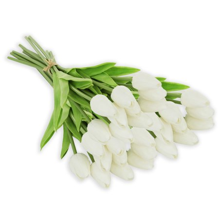 EZFLOWERY 30 Heads White Artificial Tulips Flowers Real Touch Arrangement Bouquet for Home Room Office Party Wedding Decoration, Excellent Gift Idea for Mothers Day](Galaxy Room Ideas)