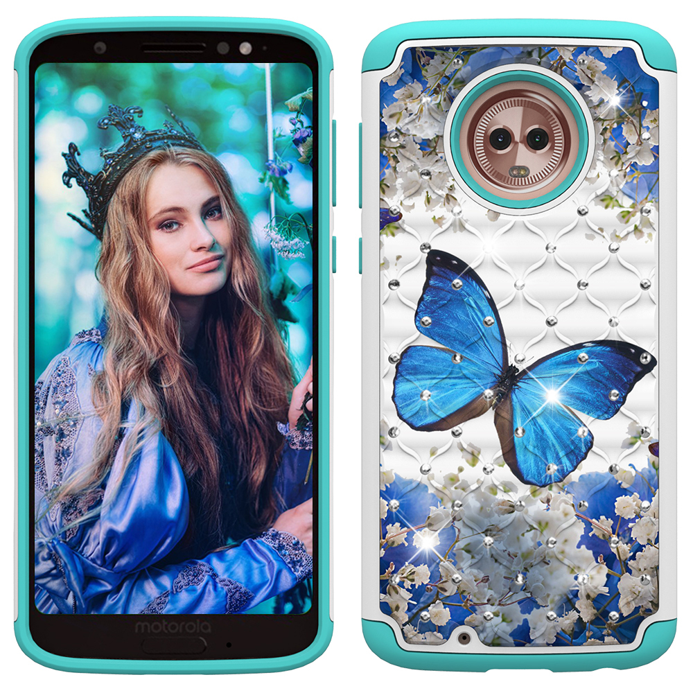 Moto G6 Case, Allytech 2 in 1 Rugged Hybrid Hard PC Soft TPU Impact Back Defender Cover Case with Bling Diamond for Motorola Moto G6/Moto G (6th Generation), Blue Butterfly