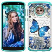 Moto G6 Case, Allytech 2 in 1 Rugged Hybrid Hard PC Soft TPU Impact Back Defender Cover Case with Bling Diamond for Motorola Moto G6/Moto G (6th Generation), Blue Butterfly