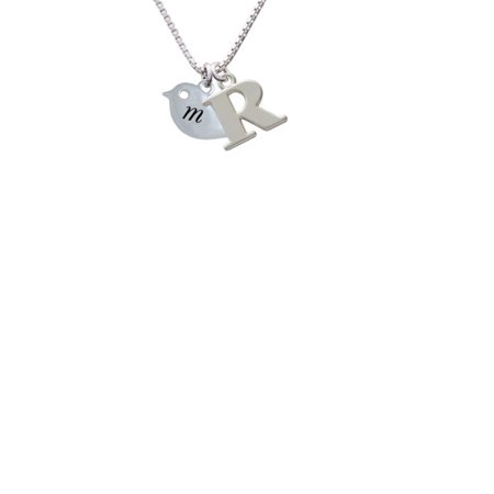Silvertone Little Bird Initial   M   Capital Initial R Necklace