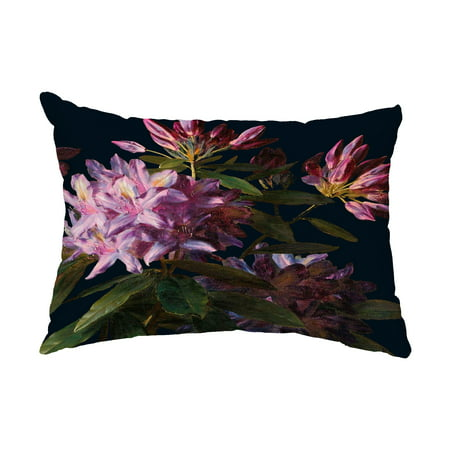 Floral Dream 14x20 Inch Black Floral Print Decorative Outdoor Throw Pillow Black Floral Throw Pillow